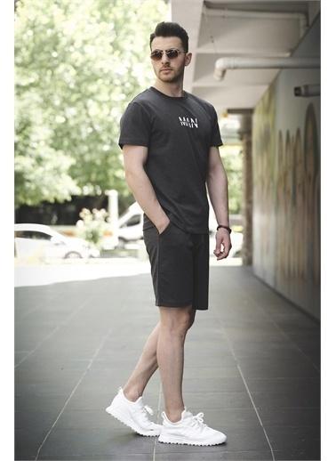 Oksit Brice Man Düz Nakış İşlemeli Slim Fit Şort Tshirt Takım Füme